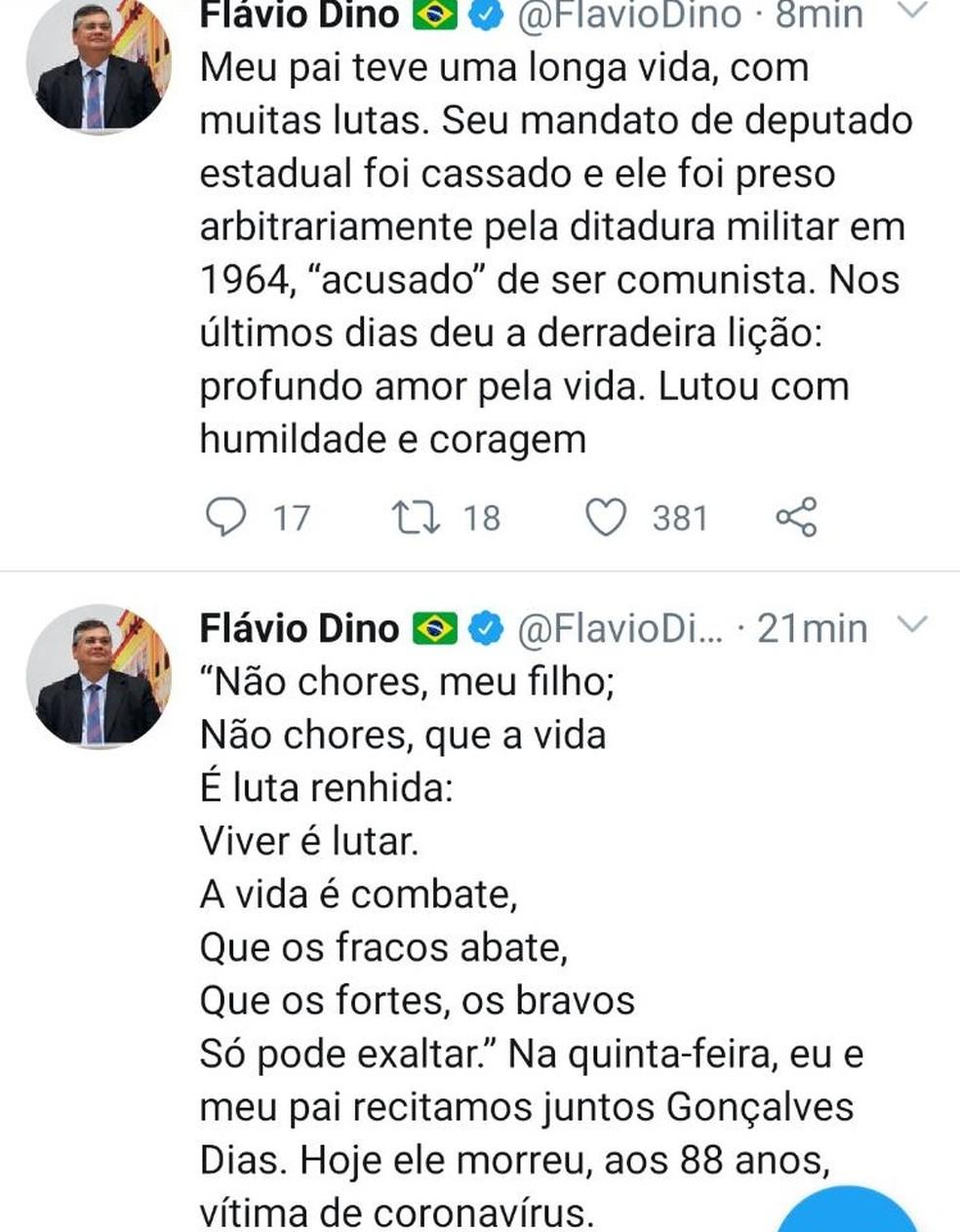 Através de uma rede social governador Flávio Dino anuncia a morte do seu pai Sálvio Dino — Foto: Reprodução/Redes Sociais