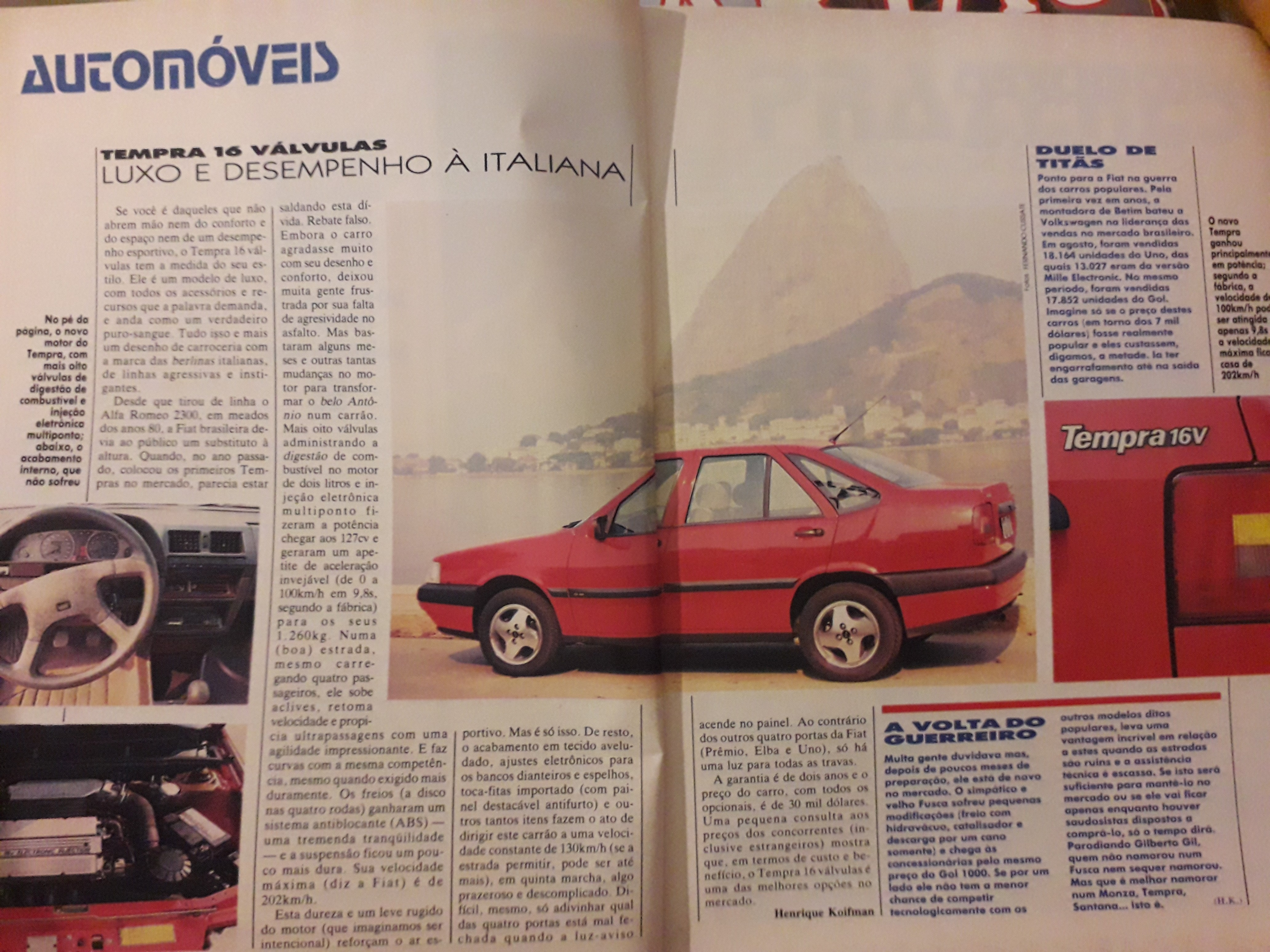 Fiat Tempra 16v 1993 na revista ELE ELA