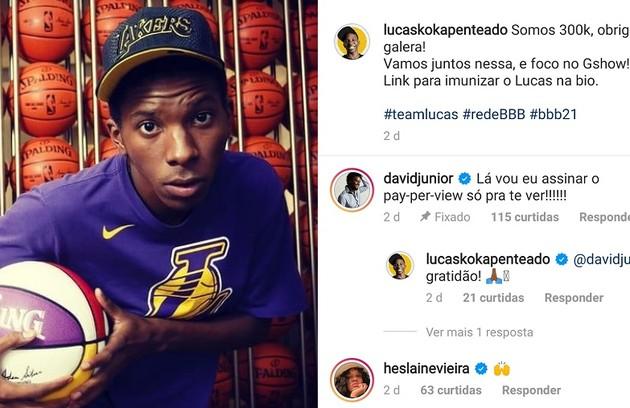 Os atores David Junior e Heslaine Vieira vibraram com Lucas Penteado (Foto: Reprodução)