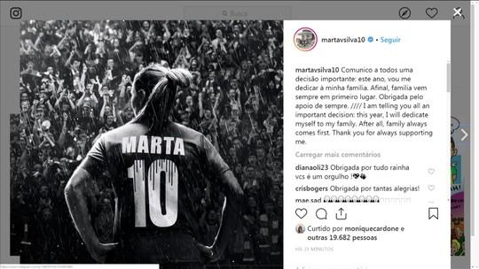 Pelas redes sociais, Marta avisa que vai se dedicar à família esse ano