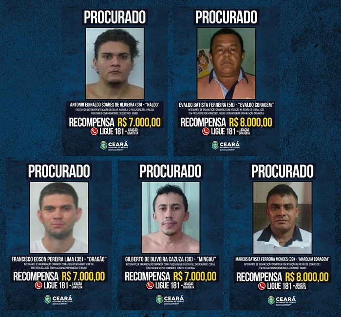 Ceará oferece até R$ 8 mil por informações que levem à prisão de 14 criminosos foragidos da Justiça