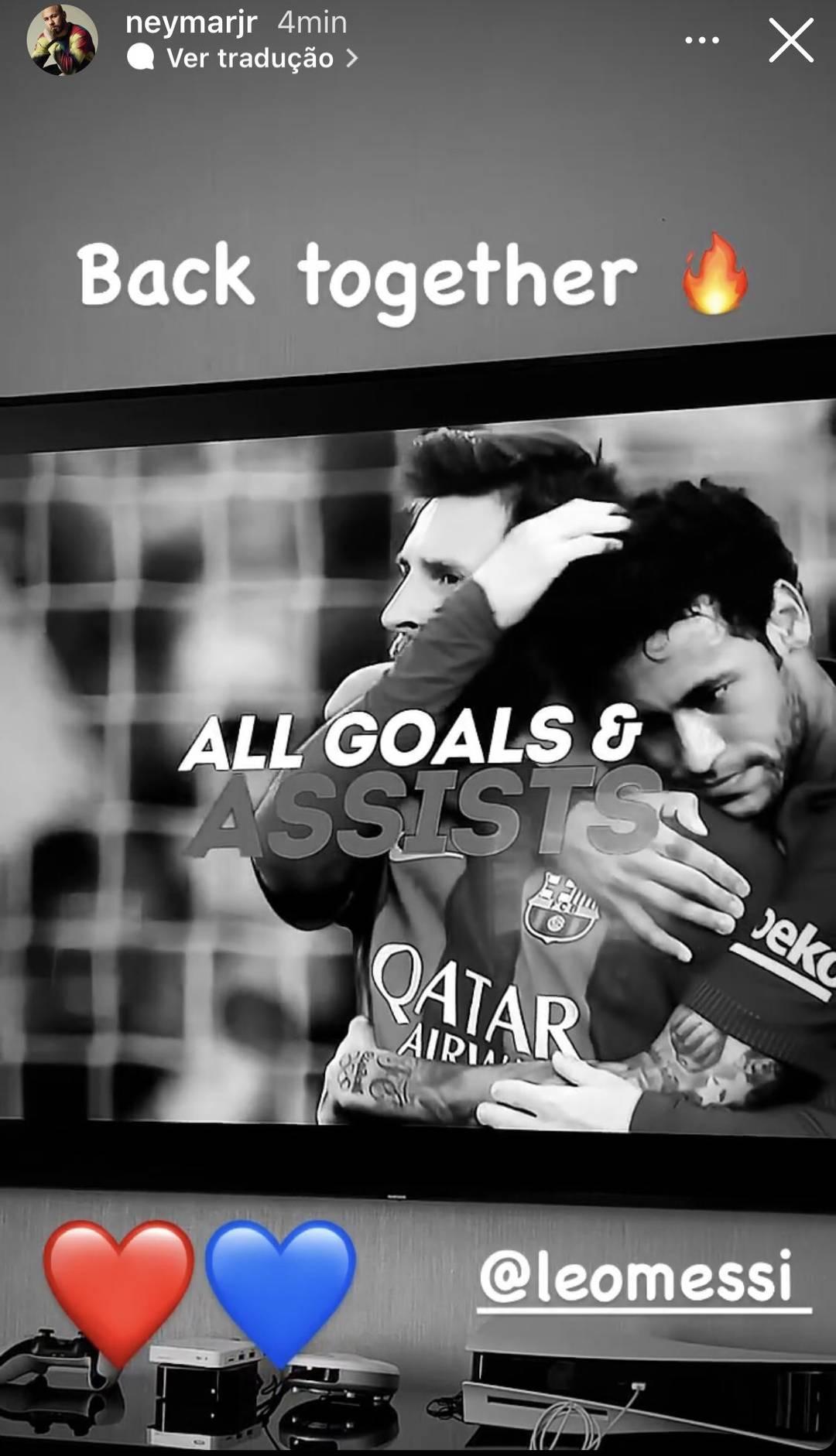 Neymar dá boas vindas Lionel Messi