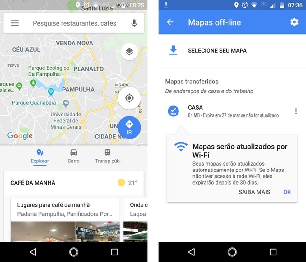 Google Maps permite baixar mapas para usar navegação GPS sem Internet (Foto: Reprodução/Raquel Freire)