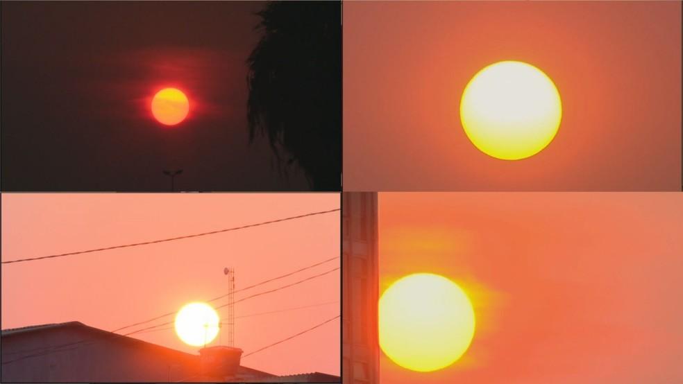 Nascer do sol no DF com névoa seca nesta sexta-feira (10), em diversas regiões do DF — Foto: TV Globo/Reprodução