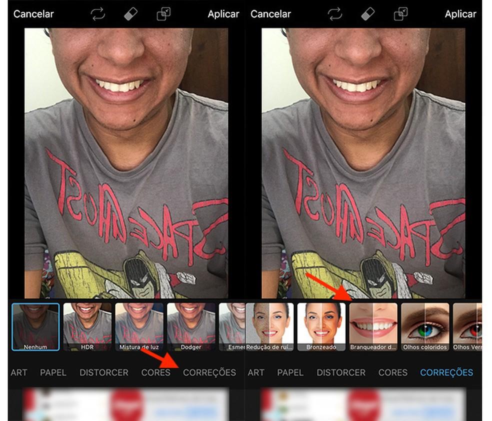 Caminho para acessar a ferramenta para branquear dentes do aplicativo PicsArt (Foto: Reprodução/Marvin Costa)