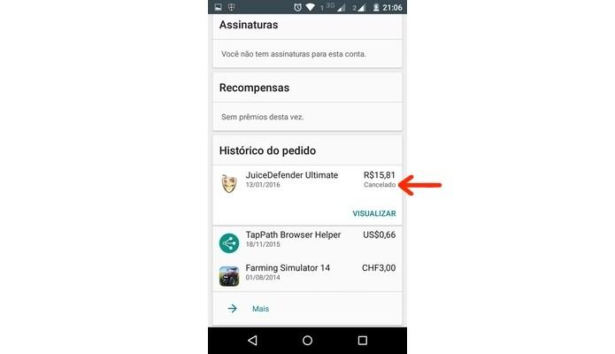 Compra de app no Google Play Store cancelada (Foto: Reprodução/ Raquel Freire)