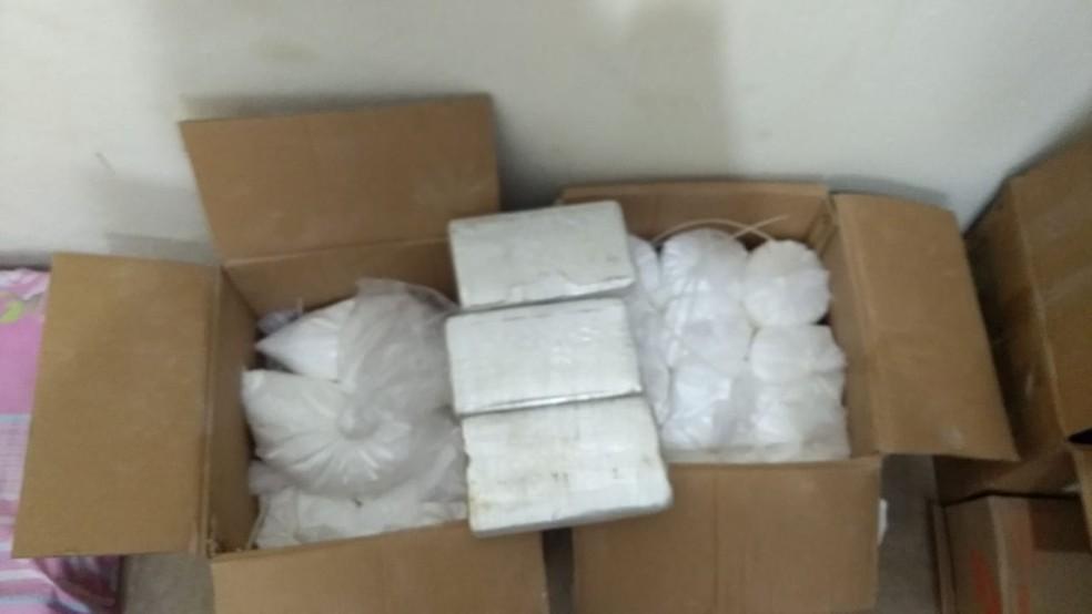 Cocaína foi encontrada em caixas que estavam em laboratório para processamento de droga, em Olinda — Foto: Polícia Militar/ Divulgação
