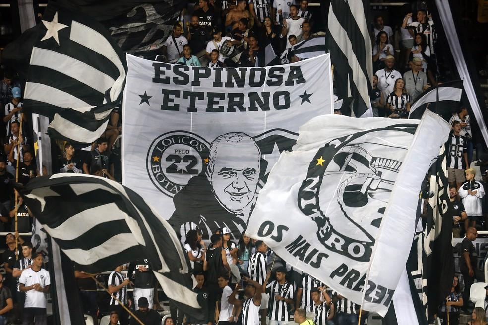 Homenagem da torcida do Botafogo a Valdir Espinosa — Foto: Vitor Silva/Botafogo