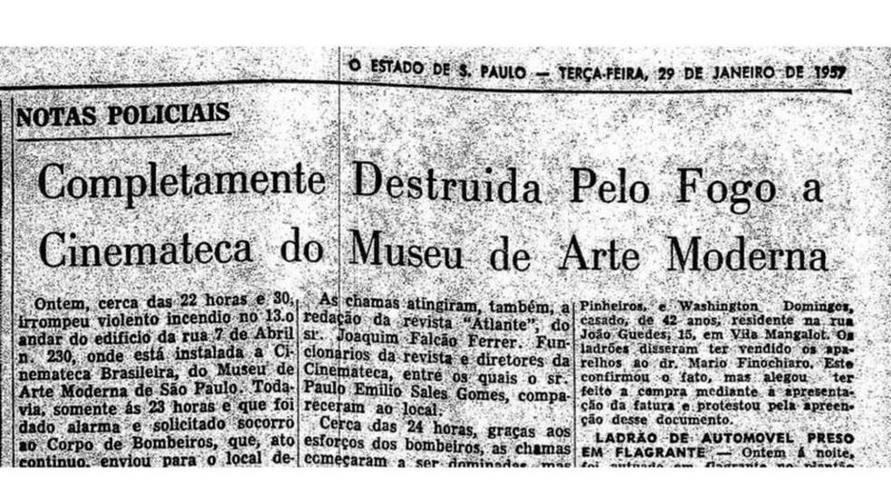 Matéria do jornal O Estado de S. Paulo registra incêndio de 1957 — Foto: Acervo O Estado de S. Paulo