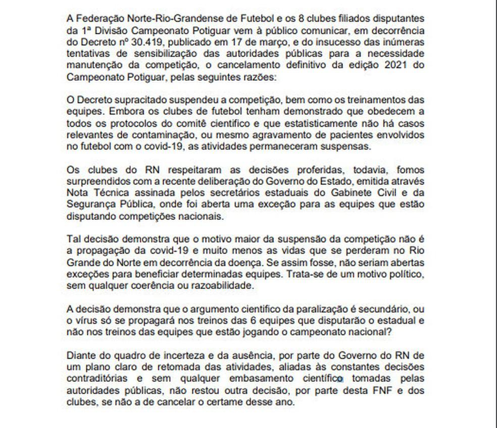 Federação Norte-rio-grandense de Futebol cancela o Campeonato Potiguar — Foto: Reprodução