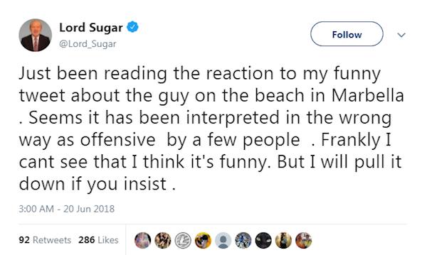 O empresário inglês e astro de reality show da TV britânica Alan Sugar justificando sua decisão em apagar seu tuíte racista (Foto: Twitter)