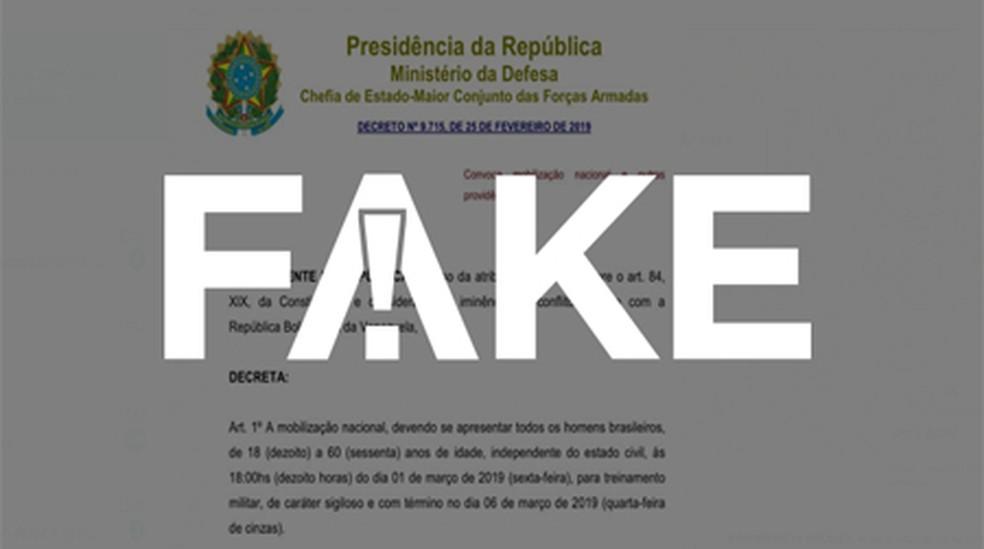 É #FAKE que decreto presidencial obriga homens a servir ao Exército durante o Carnaval — Foto:  G1