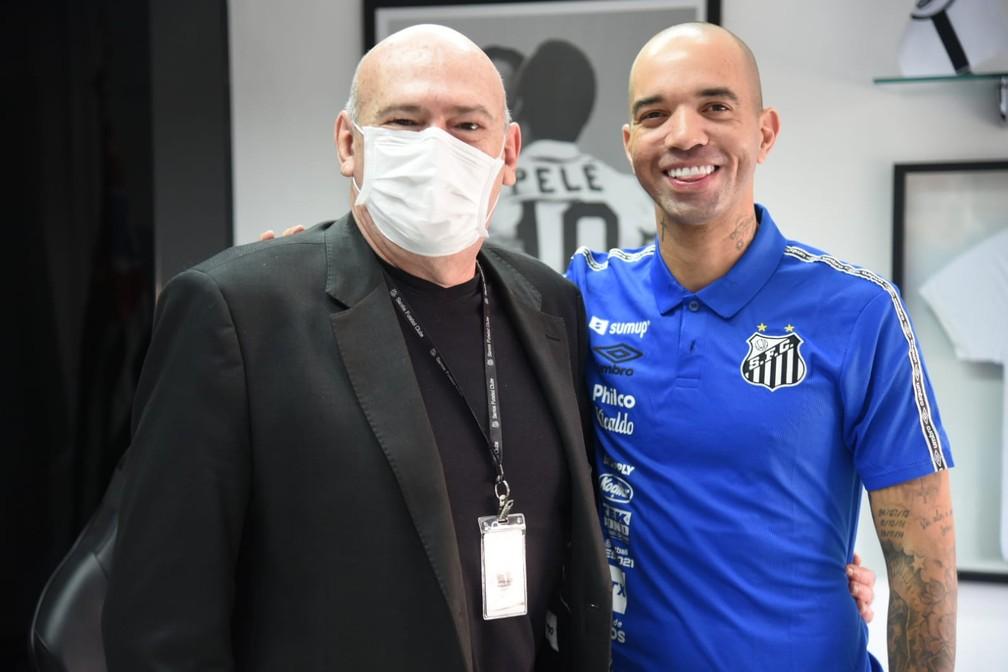 Andres Rueda e Diego Tardelli no Santos — Foto: Ivan Storti/SantosFC