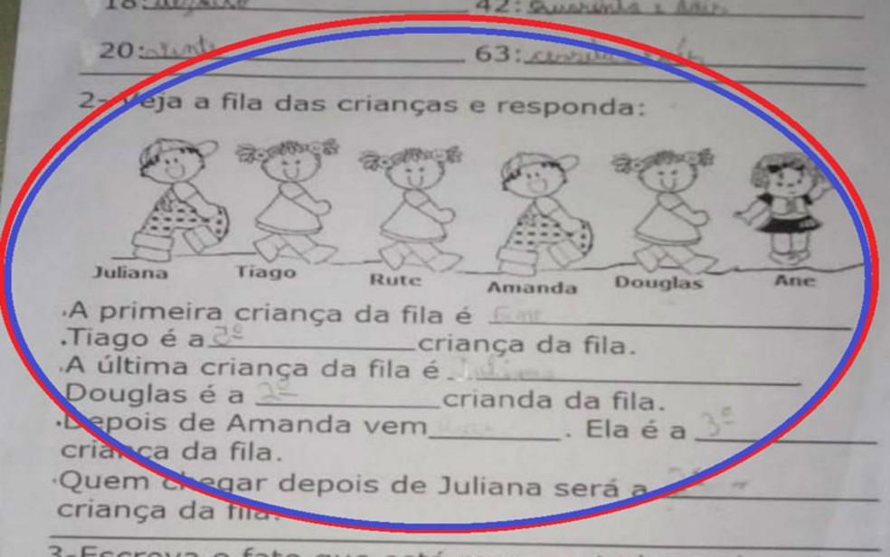 Imagem da atividade escolar gerou polA?mica nas redes sociais (Foto: ReproduA�A?o / Redes Sociais)