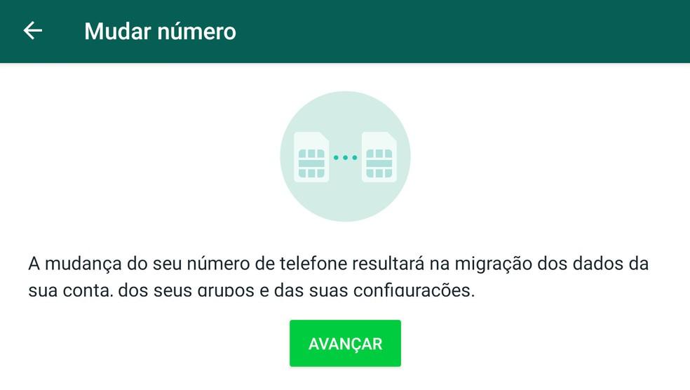 Função 'Mudar número' do WhatsApp transfere grupos e outras informações para migrar sua conta em caso de mudança de número de telefone — Foto: Reprodução
