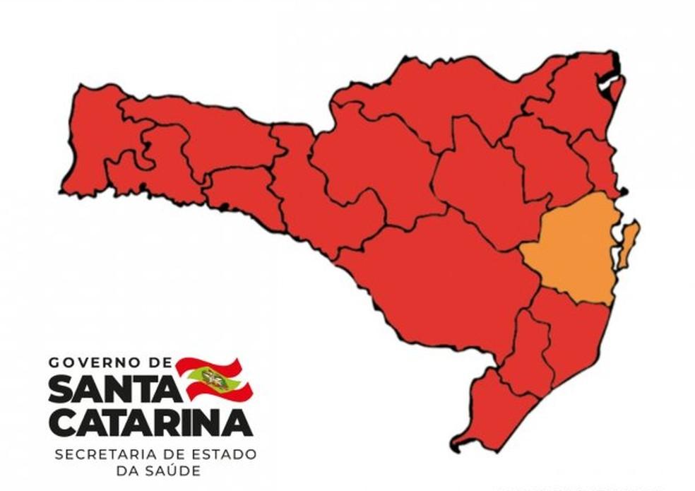 Mapa de risco de SC de 29 de maio de 2021 mostra 15 regiões em risco gravíssimo para Covid-19 e a Grande Florianópolis em risco grave — Foto: Governo de Santa Catarina/Divulgação