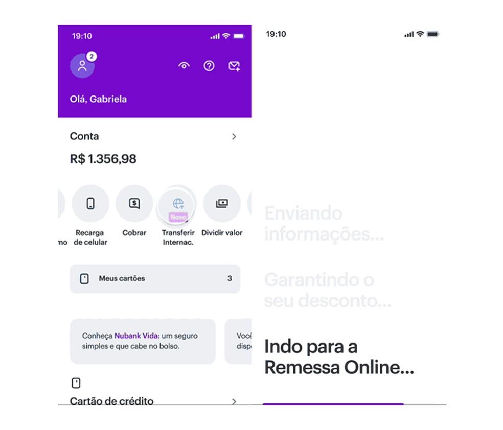 A transferência internacional começa no app do Nubank, mas deve ser finalizada na plataforma Remessa Online — Foto: Divulgação/Nubank