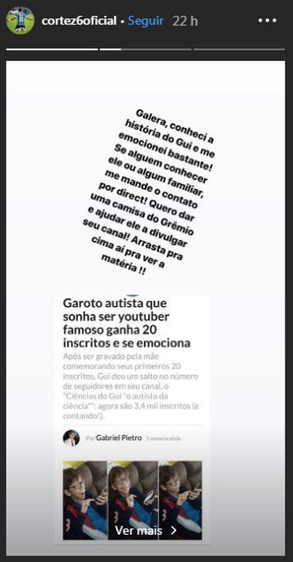 Cortez stories com a história do Guilhermo, youtuber autista de Rondônia (Foto: Divulgação )