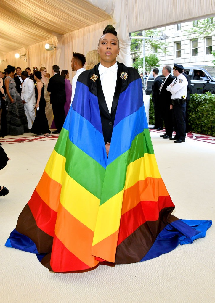 Lena Waithe no evento Heavenly Bodies: Fashion & The Catholic Imagination Costume Institute Gala, no MET, em 2018 (Foto: Dia Dipasupil/WireImage)