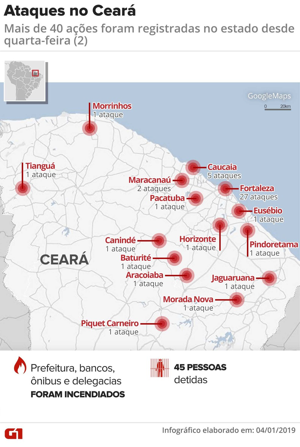 Ataques no Ceará — Foto: Infográfico: Juliane Monteiro/G1