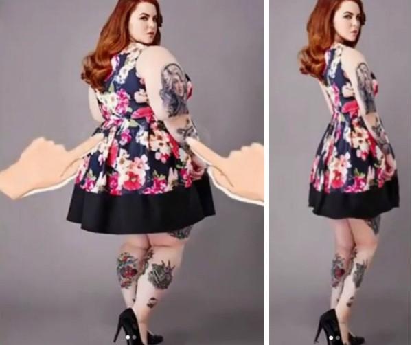 O modelo Tess Holliday no filtro do aplicativo polêmico que diminuiu seu corpo (Foto: Instagram)