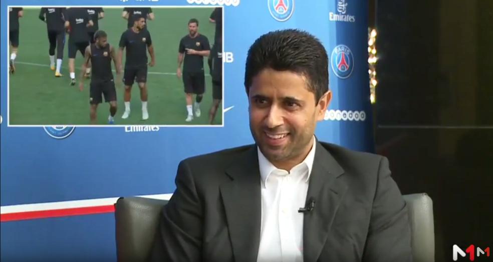 Nasser Al-Khelaïfi fala sobre Neymar durante a entrevista (Foto: Reprodução)