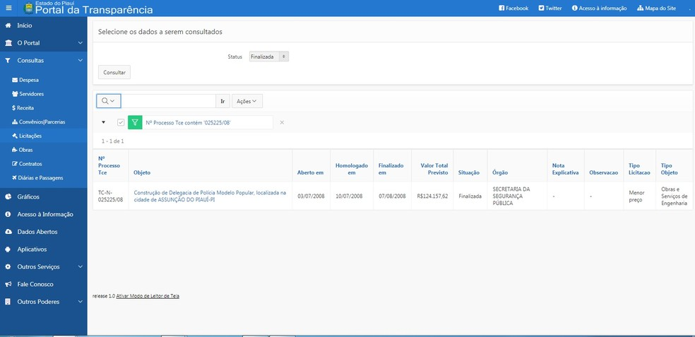 No Portal da Transparência do Governo do Piauí também há registro da obra (Foto: Reprodução/Portal da Transparência Governo do Piauí)