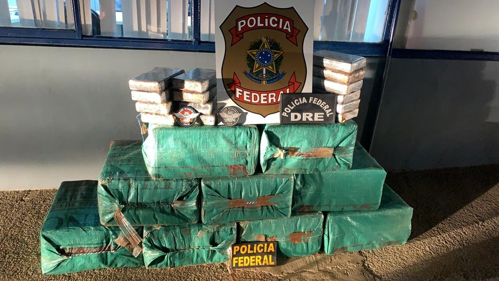 Droga foi apreendida e o piloto preso por tráfico internacional — Foto: PF/Divulgação