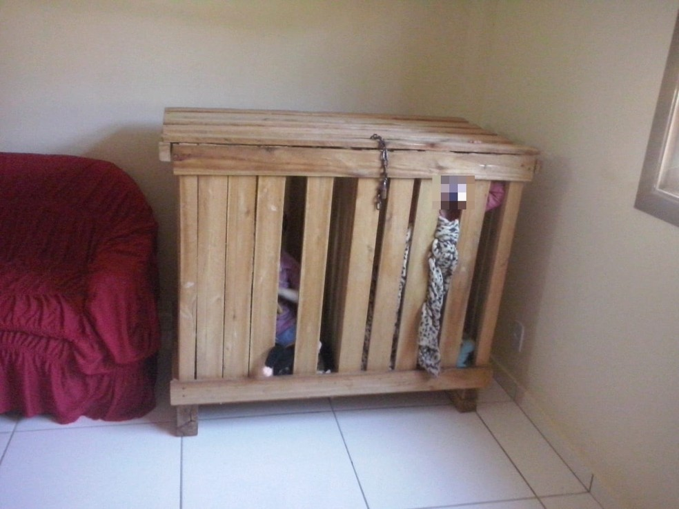 Crianças foram encontradas em casa, trancadas em caixote (Foto: VC no ESTV)