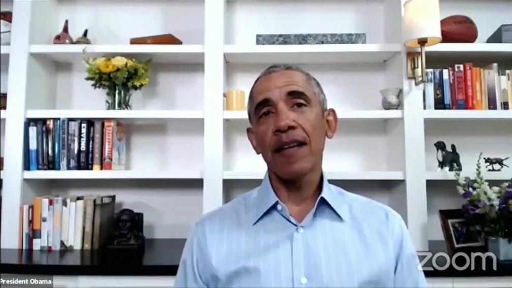 Ex-presidente dos EUA, Barack Obama, discursa nos EUA nesta quarta (3) sobre morte de George Floyd e onda de protestos no país — Foto: Reprodução