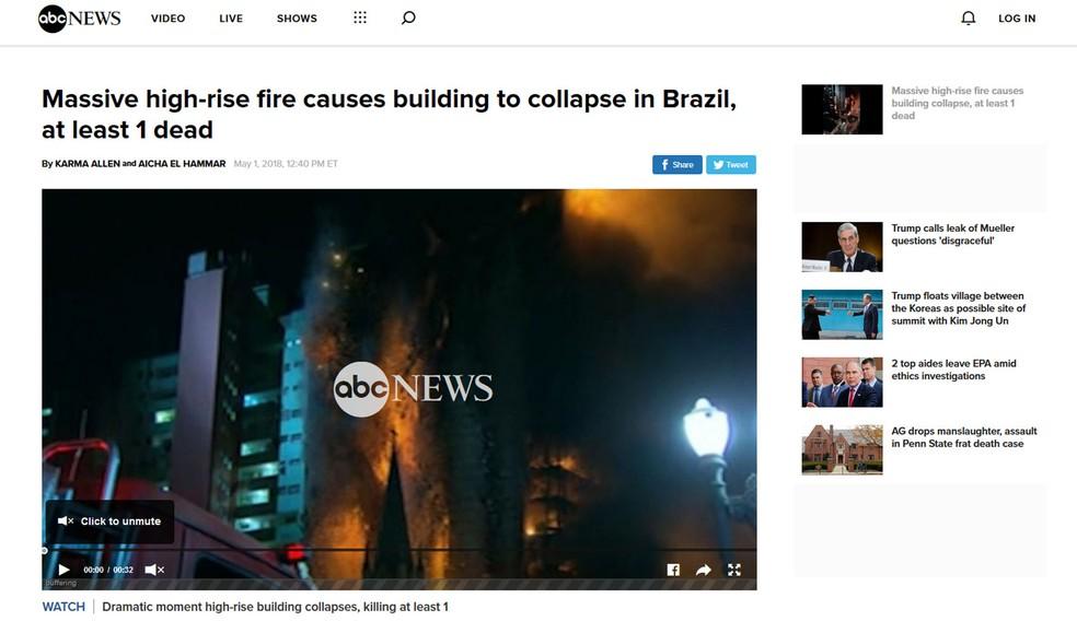 ABC News destacou em sua cobertura a queda do prédio em SP (Foto: ABC News/Reprodução)