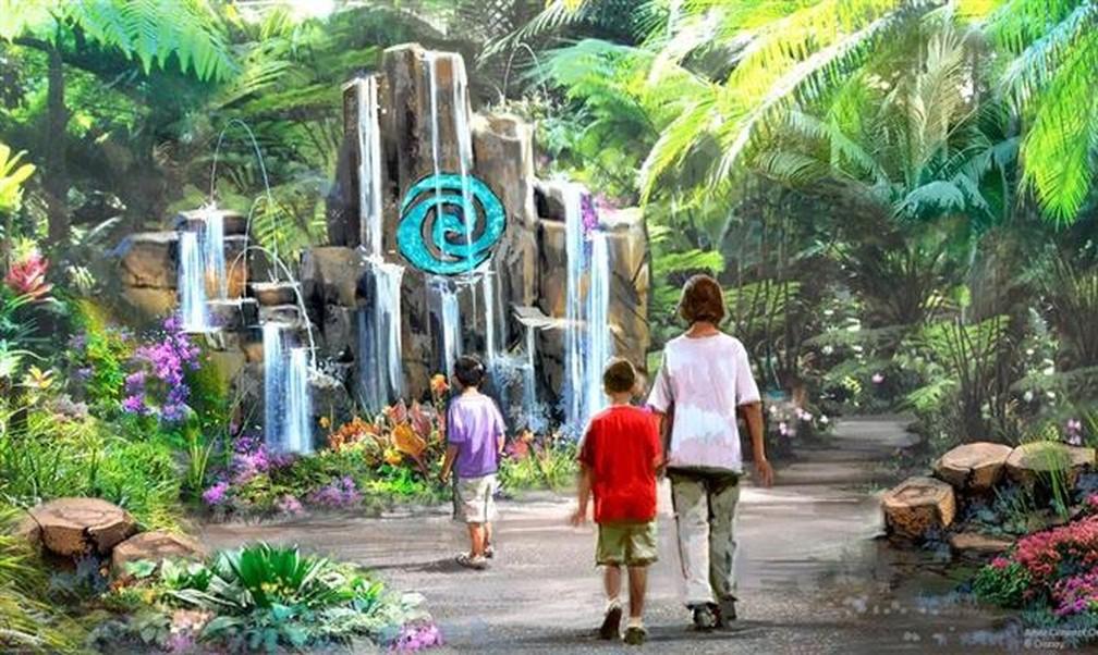 """""""Journey of Water"""" será como um labirinto, com ambientação cheia de árvores e muita interação com água. — Foto: Divulgação Disney"""