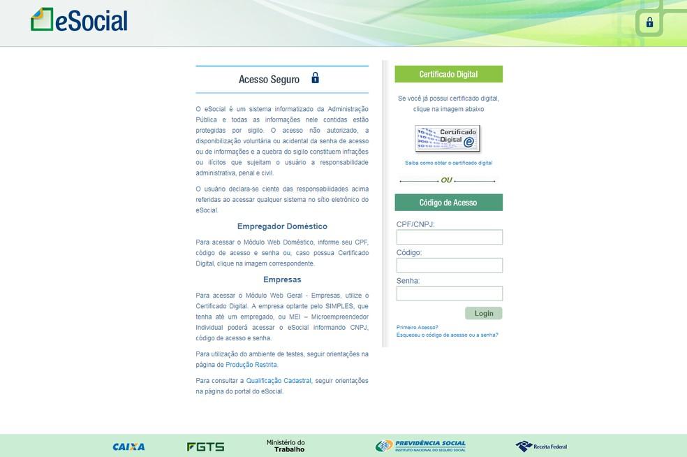 Plataforma do eSocial — Foto: G1/Reprodução