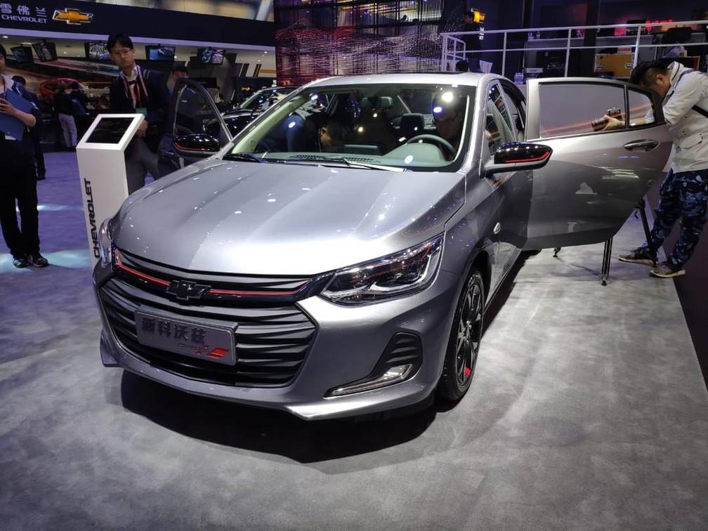Nova geração do Chevrolet Prisma em Xangai — Foto: Foto: André Paixão/G1