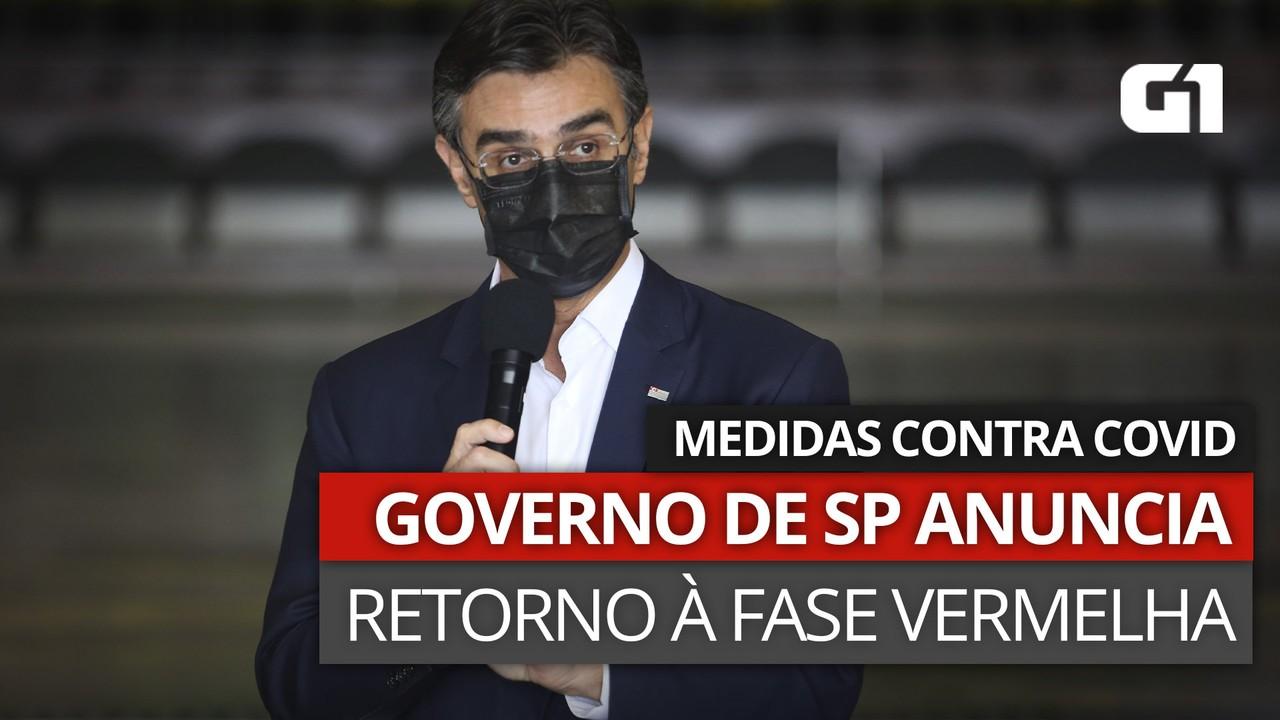VÍDEO: Governo de SP anuncia retorno à fase vermelha de restrições