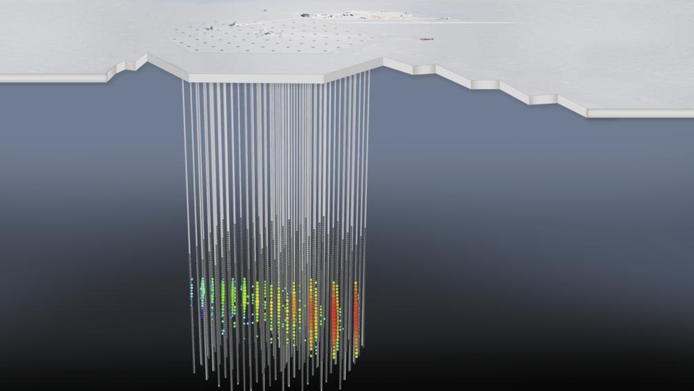 Ilustração do detector IceCube mostra a interação de um neutrino com uma molécula de gelo. O padrão de exibição é como os cientistas representam dados sobre a luz gravada. (Foto: IceCube Collaboration/NSF)