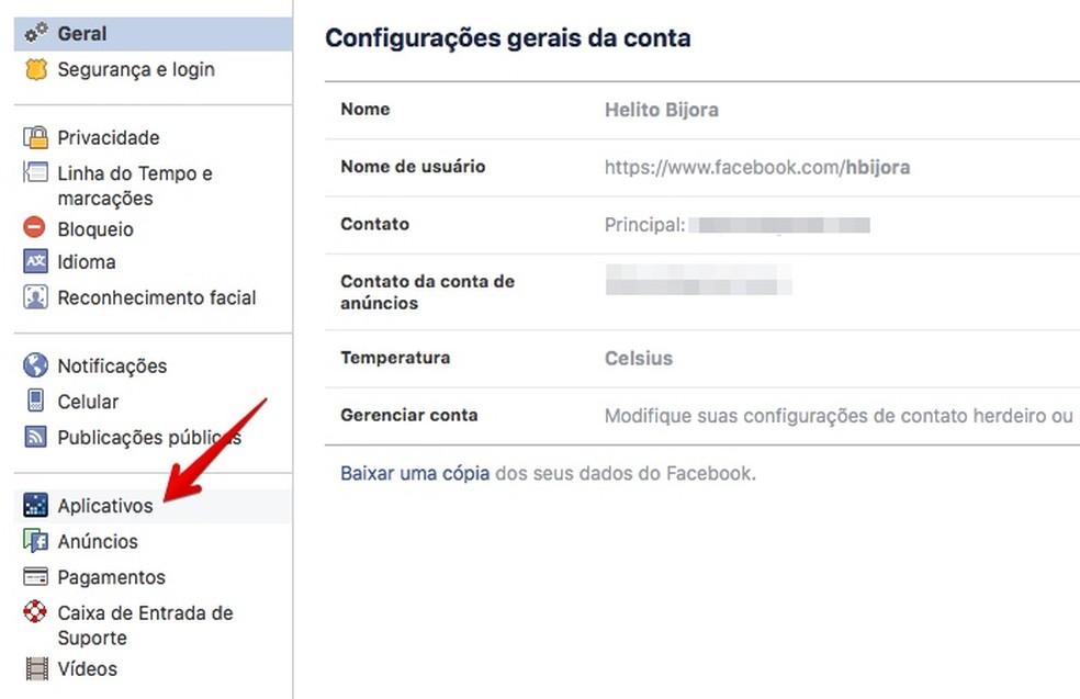 Acesse as configurações de aplicativos conectados ao Facebook (Foto: Reprodução/Helito Bijora)