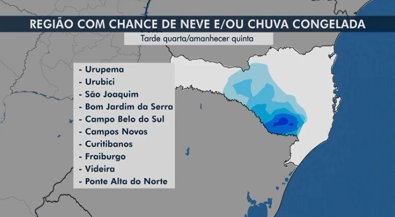 Frio intenso e histórico em SC: veja lista de cidades onde há possibilidade de neve ou chuva congelada