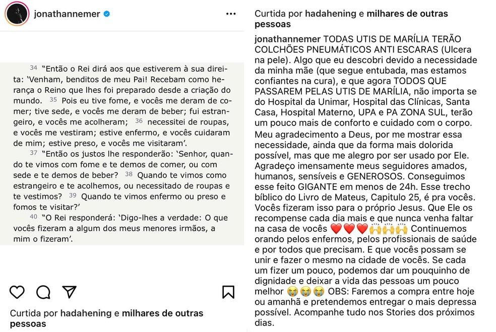 Humorista mobiliza seguidores e compra colchões pneumáticos para todos os hospitais de Marília — Foto: Instagram/Reprodução