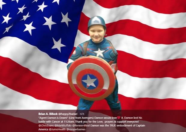 Morre Damon, de 11 anos, fã de Os Vingadores (Foto: Reprodução)
