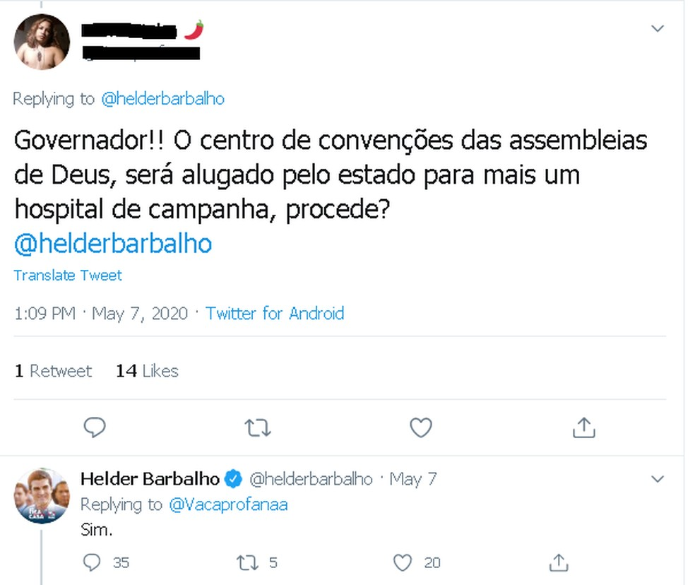 Em uma rede social, governador Helder Barbalho confirma aluguel de espaço de igreja em Belém. — Foto: Reprodução / Twitter