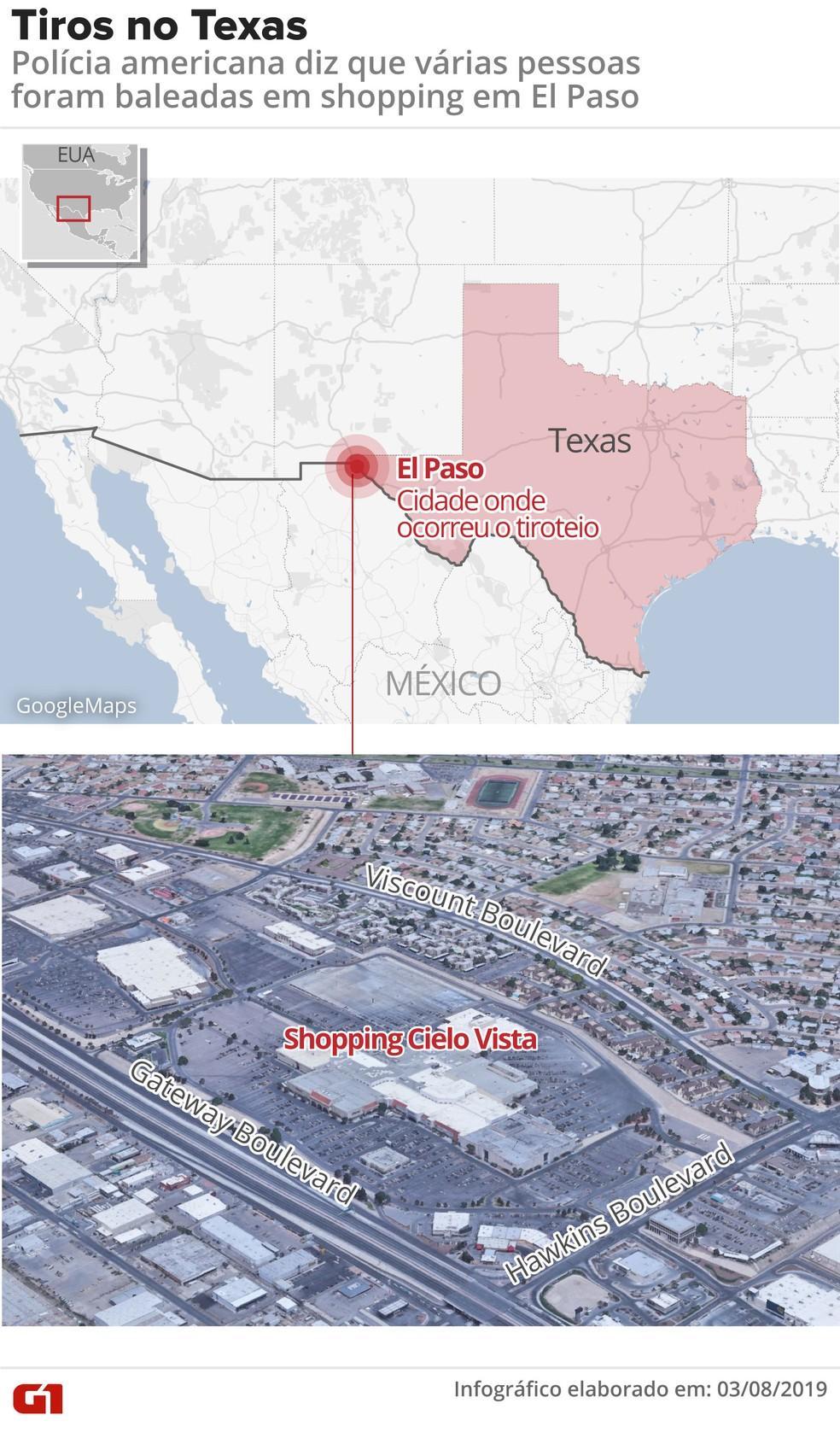 Tiros em El Paso, no Texas, deixam mortos e feridos. — Foto: Roberta Jaworski/G1