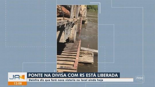 Trânsito da ponte na divisa entre as serras de SC e RS é liberado