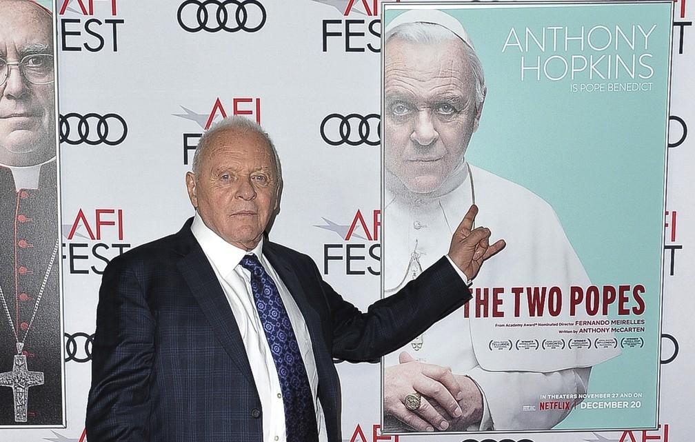 Anthony Hopkins chega à exibição de 'Dois Papas' no AFI Fest em 2019 — Foto: Richard Shotwell/Invision/AP