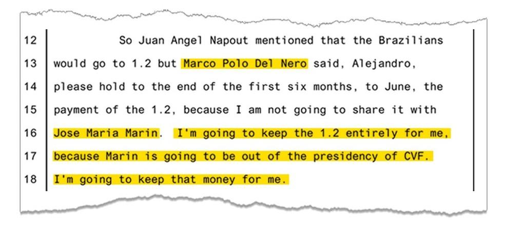 """Del Nero, segundo depoimento de Burzaco: """"Eu não vou dividir com Marin. Vou ficar com US$ 1,2 milhão para mim""""  (Foto: Reprodução)"""