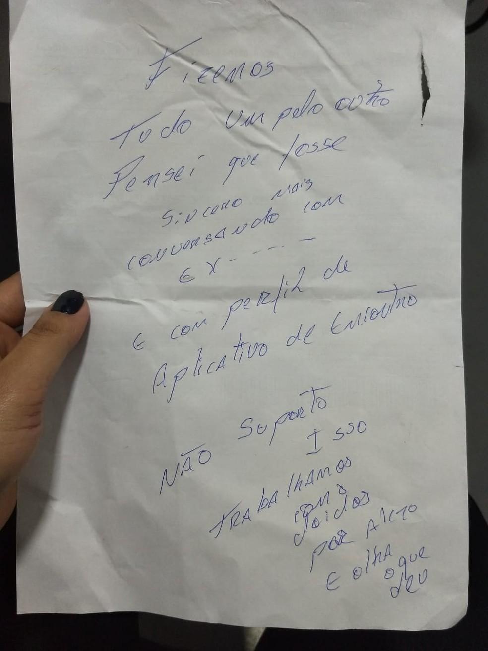Carta foi recolhida pela Polícia Civil em Sorocaba — Foto: Arquivo