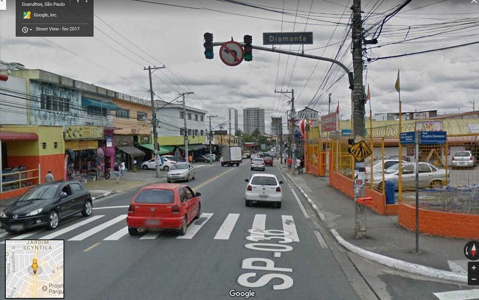 Avenida Otávio Braga de Mesquita em Guarulhos, onde 5 pessoas morreram em acidente  (Foto: Reprodução/Google Maps)