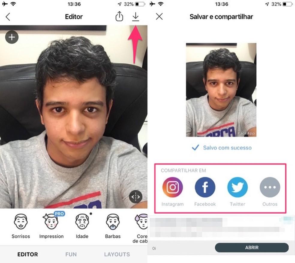 Ação para salvar e compartilhar uma foto editada no aplicativo FaceApp — Foto: Reprodução/Marvin Costa