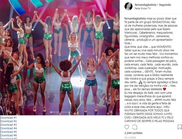 Bailarina Fernanda Batista se despede do Domingão do Faustão (Foto: Reprodução/Instagram)