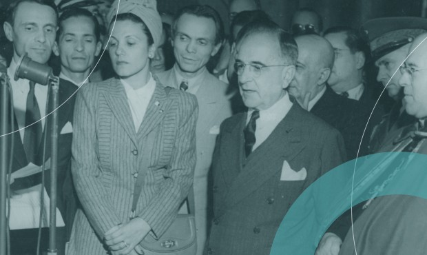 Getúlio Vargas na inauguração do prédio do MEC em 1945, quando era ditador do Estado Novo